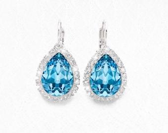 Aquamarine Blue Swarovski Crystal Lever Back Earrings, Fancy Aquamarine Swarovski Crystal Teardrop Earrings, Bridal Bridesmaid Earrings