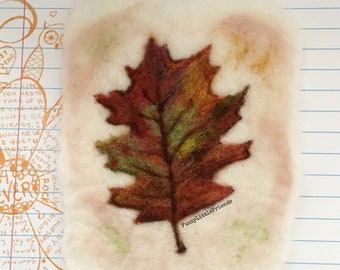 Oak Leaf needle felted wool painting, wall hanging, nursery, gift, birthday, cards,
