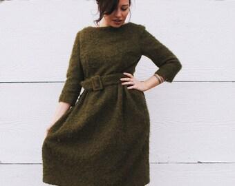 1960s Olive Green Bouclé Dress with Belt