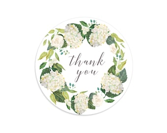 Thank you stickers, Hydrangea stickers, Floral wreath, Floral thank you stickers, Floral tags, Flower thank you tags, Hydrangea wreath