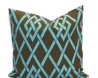 SALE - Braemore Brown Blue Lattice Outdoor Zippered Throw Pillow Cushion Cover // 18X18 // Geometric Designer Patio Pillow // Secret Gate