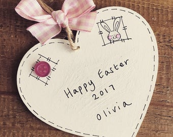 Personalised easter bunny plaque pink girls sign keepsake heart