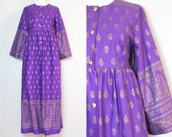 Purple Kaftan Dress Coat / Vintage Middle Eastern Dress