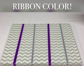 Green and White Chevron Hair Bow Holder Hair Bow Organizer Choose your Ribbon Color