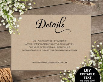 Details card, wedding details card, wedding details, wedding information card, info card, rustic, printable wedding, template, DIY  #S4MR1