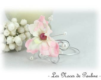 Pink and white wedding bracelet has Fleur Justine