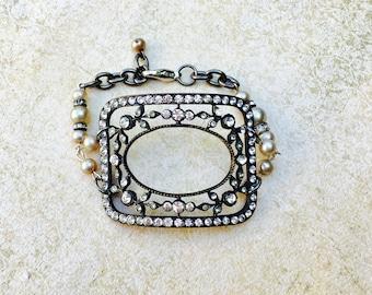 Vintage shoe buckle cuff bracelet
