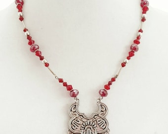 Red Gypsy Necklace - Ren Faire - Gypsy Cosplay - Romantic Jewelry - Festival Necklace - Boho Chic - Bohemian Necklace - Christmas Gift Idea