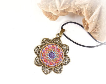 Anniversary gifts wife, girlfriend, protection symbolic mandala necklace under 15 dollars, geometric jewelry, sacred geometry meditation.