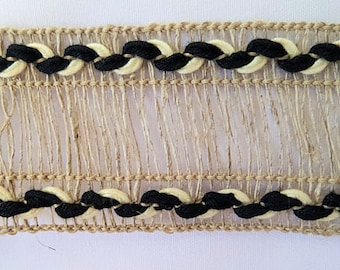 5 Yards Beige Trim with black and Cream edging