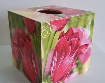 Spring Wooden Tissue Box Holder Dispenser - 13 x 13 cm- Hand decorated- Decoupaged Box- Office Tissue Box- Home decoration- Flower Box- New