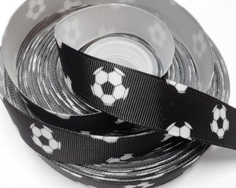 7/8 inch Soccer Balls on Black - SPORTS Printed Grosgrain Ribbon for Hair Bow