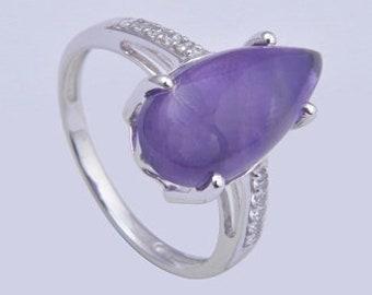 Handmade 925 sterling silver ring, amethyst ring,