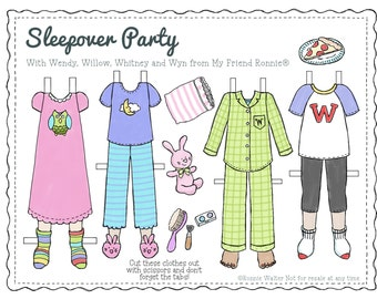 Printable Paper Doll Clothes in Color by My Friend Ronnie®-Sleepover Party