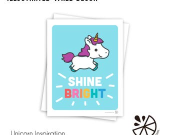 Cute Unicorn Shine Bright Inspirational Print Room Decor