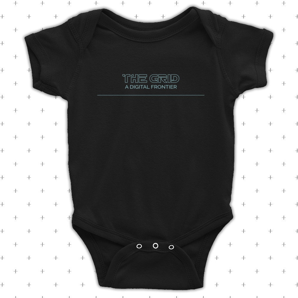 The Grid Final A Digital Frontier - Baby Lap Shoulder One Piece Bodysuit - Two Color Options