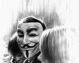 Guy Fawkes LARGE wall art PRINT of Pencil Drawing, Revolution Black and White Drawing Print, Remember the 5th of November Poster, Vendetta