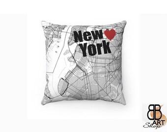 New York Pillow, New York Decor, Throw Pillow, New York Map Art, New York, New York City Map, New York Map Cushion, New York fan Gift