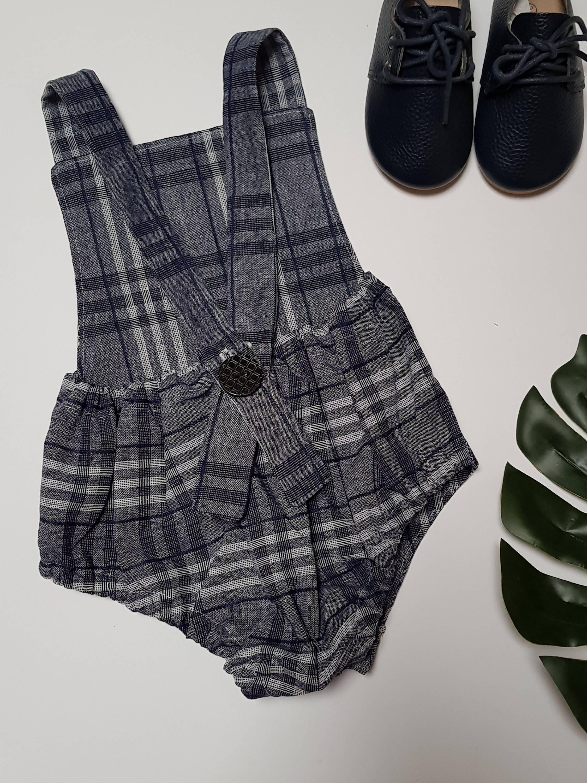 98e530368 Vintage Style Boho Linen Romper Overalls. Size 000 Handmade