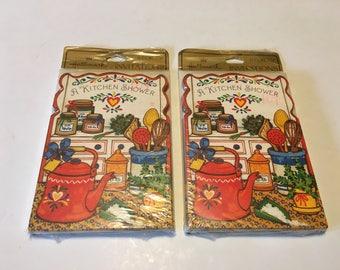 Two Packs of Vintage Hallmark Kitchen Shower Cards