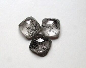 12mm Natural BLACK RUTILATED QUARTZ Rosecut Cushion Faceted flat gemstone.....