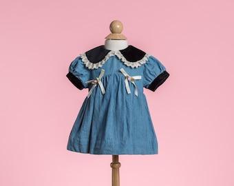 Vintage Denim Velvet Collar Dress (Size 6/9 Months)