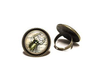 Steampunk Beetle Glass 20mm Cabochon Brass Rope Adjustable Ring
