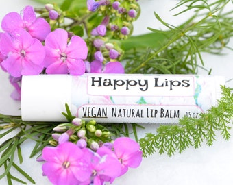 Happy Lips VEGAN! All Natural Lip Balm - Peppermint, Organic and Fair Trade Ingredients