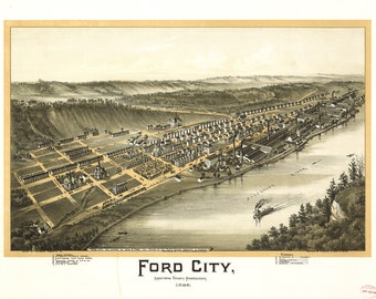 Map of Ford City, Armstrong County, Pennsylvania, 1896; Antique Map
