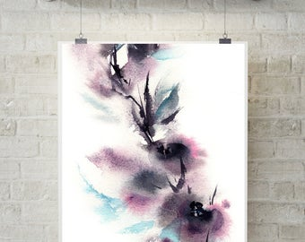 Abstract Flowers Fine Art Print, Abstract Botanical Purple Watercolor Painting Art, Modern Abstract Botanical Wall Art Print