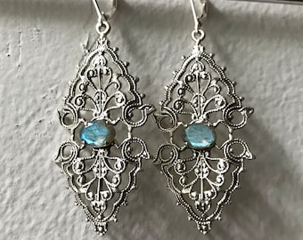 Labradorite and Sterling Vintage Filigree Earrings