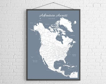 United states push pin map travel map adventure awaits map north america push pin map print only canada map mexico map gumiabroncs Images