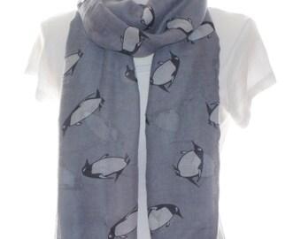 Grey penguin Scarf shawl, Beach Wrap, Cowl Scarf, grey penguin print scarf, cotton scarf, gifts for her