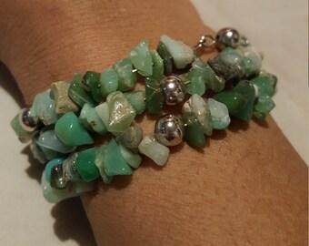 Crysoprase nuggets bracelet
