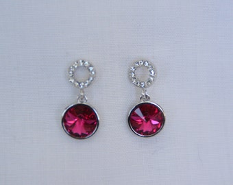 Red Swarovski Crystal drop dangle style. Wedding jewelry. Bridesmaid earrings. Gift for her. Silver earrings. Drop earring. Dangle earring.