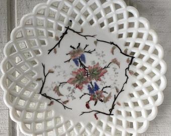 Vintage white milk glass scalloped plate handpainted white glass serving platter, Display plate weddings entertaining Chic white glass plate