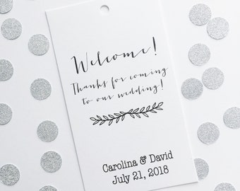 Welcome Bag Favor Tags, Customized Wedding Tags, Welcome Bag Tags  (BC-062)