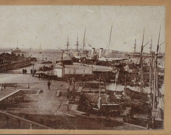 RARE outdoor/ landscape of Copenhagen Harbor, Tolboden Cabinet Card. Copenhagen Waterfront