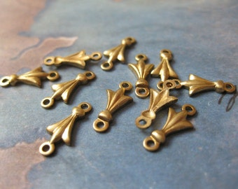 4 PC Raw Brass Petite Ornamental Connector Finding - RR15