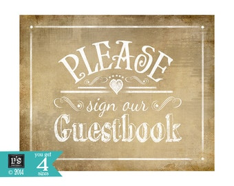 Printable Wedding Rustic Guestbook sign - 3 sizes -  instant download digital file - DIY - Vintage Collection
