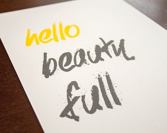 hello beauty full 8 x 10 Letterpress Print