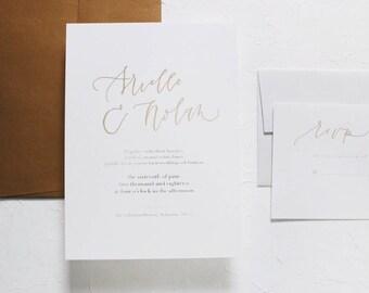 The Arielle / Wedding Invitation / Simple Wedding Invitation / Foil Wedding Invitation / Minimalist Wedding Invitation