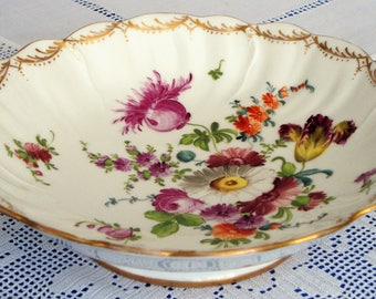 SOLD Antique DRESDEN Cabinet Plate CAKE Plate Hand Painted