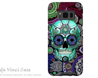 Case for Samsung Galaxy S8 - Day of the Dead Galaxy S 8 Case with Purple Paisley Sugar Skull Art - Sombrero Night - Premium Dual Layer Case