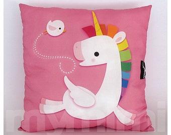 "12 x 12"" Pink Pillow, Decorative Pillow, Rainbow Unicorn Pillow, Pegasus, Cotton Pillow, Kids Throw Pillow, Girls Room Decor, Nursery Pillow"