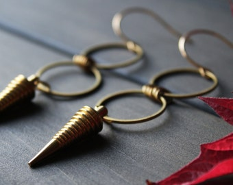 Octavia Earrings - pendulum spike tribal earring edgy statement geometric earrings long circle dangle large big gold brass minimalism