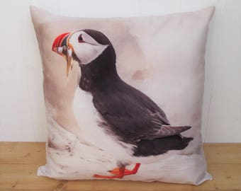 "Puffin Cushion, Puffin Bird Pillow, Print Artwork Handmade Fabric Cushion, Decorative Bird Cushion, Accent Puffin Pillow 16"" Zipped Cushion."