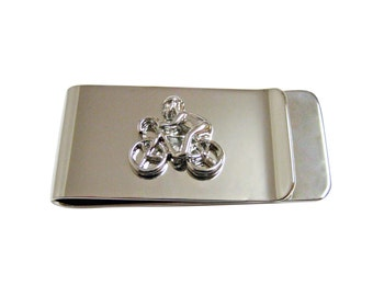 Silver Toned Bicyclist Money Clip