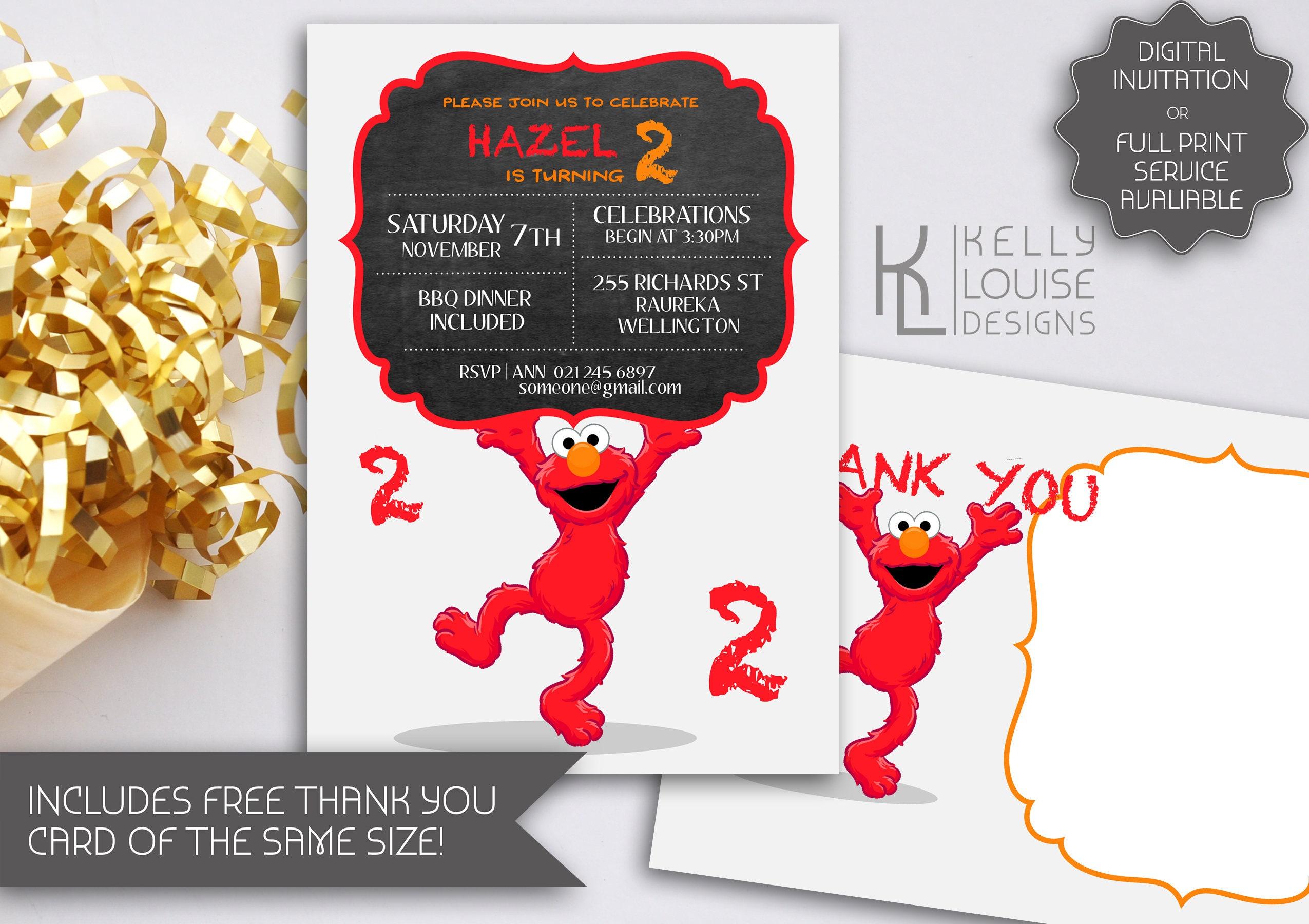 Elmo Chalkboard Birthday Invitation | Elmo Invitations | Elmo ...