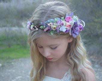 Purple & Pink Flower Girl Crown- Wildflower Rose Flower Crown - Flower Girl Crown - Photo Prop - Bridal Flower Crown - Baby Flower Crown
